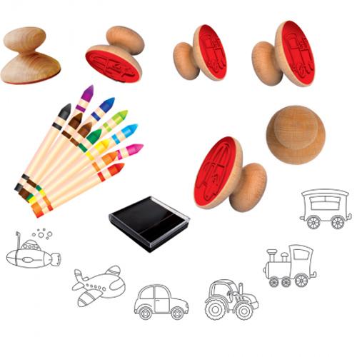 drewniane stempelki dla-chlopcow-pojazdy-adamigo