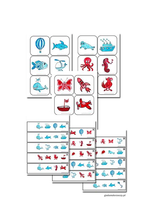 Karty do ćwiczeń kategoryzacji i wykluczania ze zbioru
