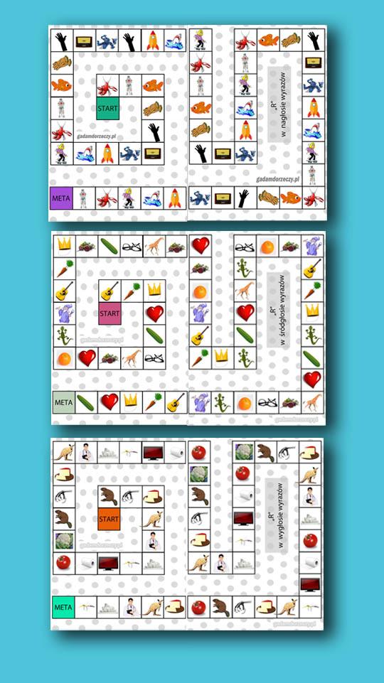 3 gry planszowe do terapii głoski R